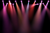 colorful stage lights, projectors in the dark, purple,red,blue soft light spotlight strike