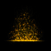 Gold glittering star magic dust on background.Particles for your