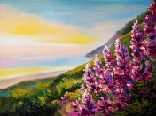 Oil painting of colorful sunset at Black Sea Coast