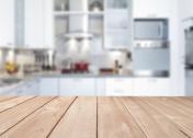 Empty kitchen wood countertop