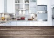 Empty rustic wood kitchen countertop