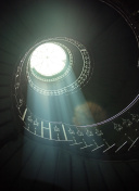 Delicate sunlights among spiral stairs