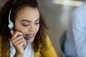 Customer service executive talking on headset