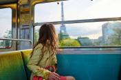 Beautiful young woman in Parisian metro