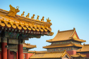 Yellow roofs and ridge turrets at Forbidden City, Beijing