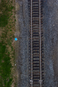 Aerial view of rail road tracks