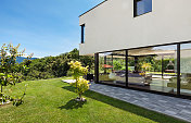 Modern villa, outdoor, green garden