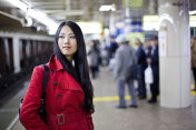Asian woman at the metro station