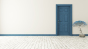dark blue door with wall