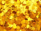 Gold hearts, Valentine's Day background, love holiday confetti