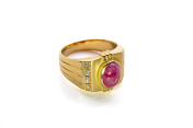 Magenta Gem Gold Diamond Ring with Clipping Path