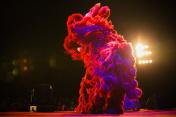 Lion dance at night