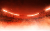 soccer stadium in red steam
