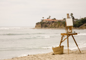 Coastal Scene with Easel