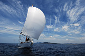 sailing with white spinnaker