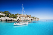 Beautiful bay with sailing yacht