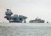 Aircraft carrier and escort frigate