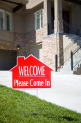 WELCOME sign in front of home