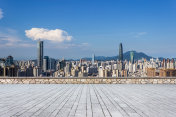 Shenzhen city building and blank floor with no people