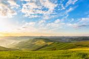 Sunrise in the rolling rural landscape