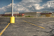 Parking lot in front of a big commercial store property