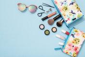 Summer makeup flat lay for beach holidays