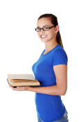 Portrait of young student woman with open book.