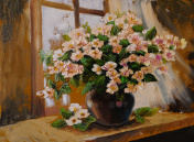 Oil painting on canvas - still life flowers