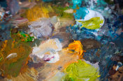 oil painting color mixtures in The palette