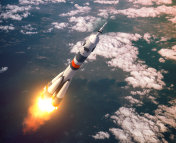 Carrier Rocket Launch In The Pink Clouds