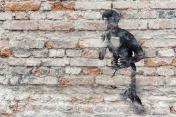 Boxer graffiti on old brick wall