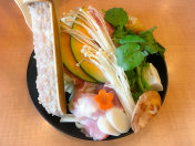 Hot pot with veggies and meat