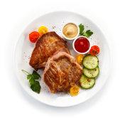 Roast pork and vegetables