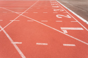 Athletics track lane number one to eight
