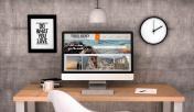 workspace computer travel agency website on screen website