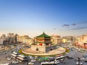 ancient city xian at dusk
