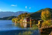 Peaceful view of the Lugu lake in the morning