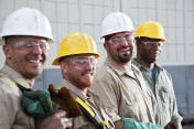 Construction workers in safety gear