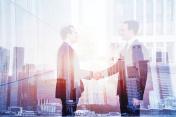 business deal, handshake double exposure, cooperation concept
