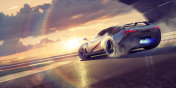Sports Car Drifting Round Racetrack Bend At Sunset