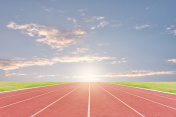 Athlete track or running track with sky sunset background