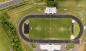 Aerial view of track and field stadium