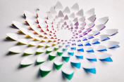 Rainbow flower made of cut paper