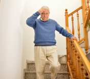 man with faintness at the stairs home