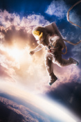 Astronaut floating in the atmosphere