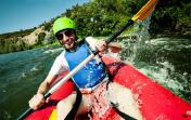 Canoe rafting river fun