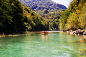 rafting boat on the fast mountain river Tara in Montenegro