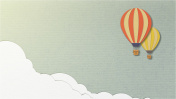 Balloon on sky background or blue background, paper cut style