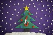 Christmas tree with ornaments and candy cane