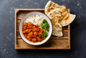 Chicken tikka masala spicy curry meat food with rice